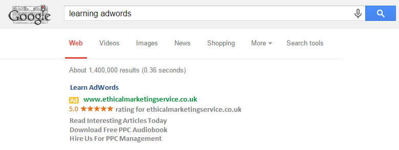 Learning AdWords Ad example