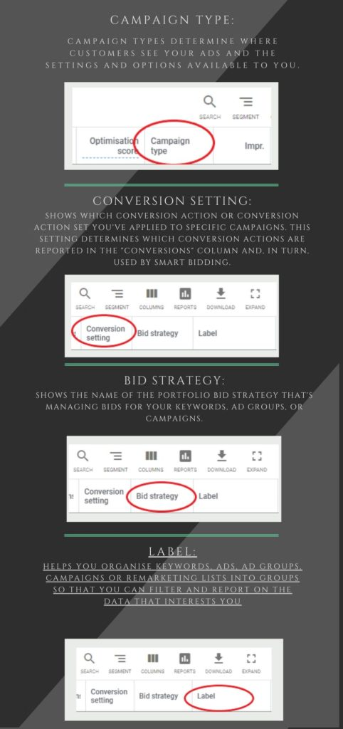 campaign type, conversion setting, bid strategy, label